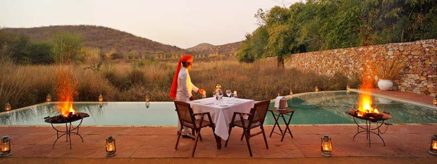 Poolside Dining at Sher Bagh, Sawai Madhopur