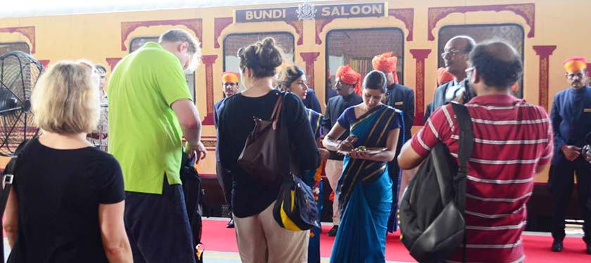Guest Welcome at Palace on Wheels Train