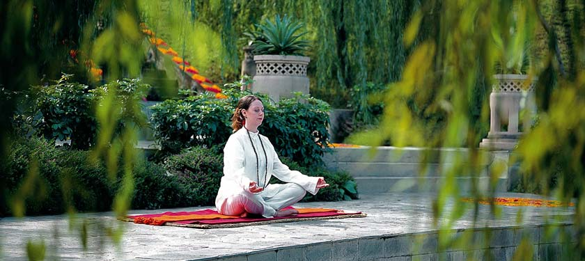Yoga sessions at Ananda in himalayas